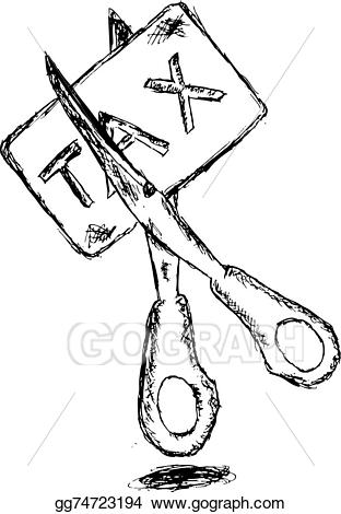 Vector hand draw sketch. Tax clipart drawing