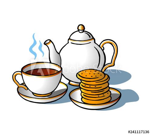 Tea clipart english tea. Teapot and wafers great