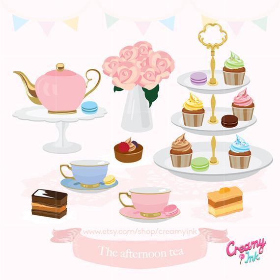 Afternoon party digital clip. Tea clipart english tea