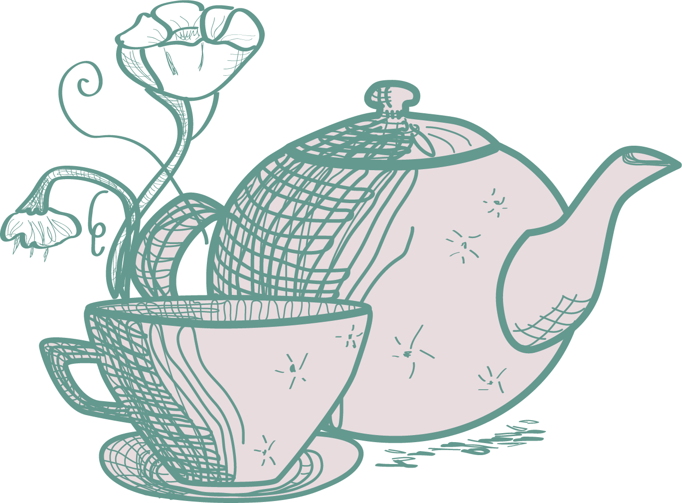 Tea clipart ginger tea. Bubble cafe green hand