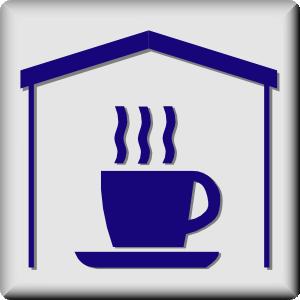 Hotel icon in room. Tea clipart tea house