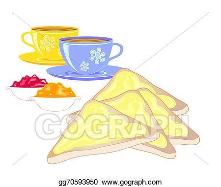 Tea clipart tea toast. Vector illustration buttered eps