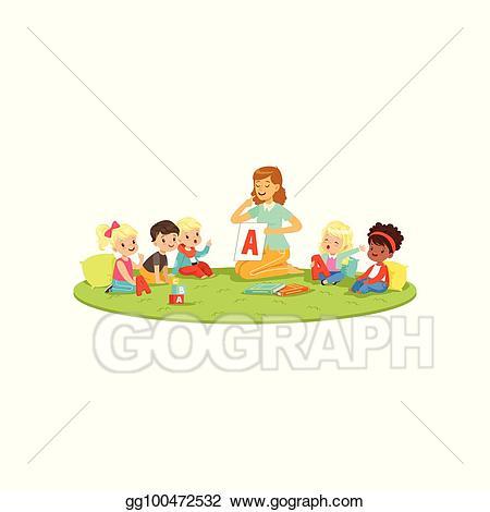 Vector art kids sitting. Teach clipart speech teacher