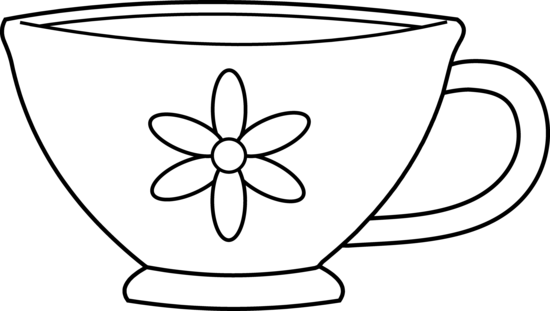 Teacup clipart. Black and white free