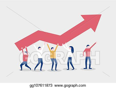 Vector little people raise. Teamwork clipart arrow