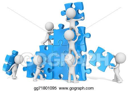 Teamwork clipart blue. Stock illustration gg gograph