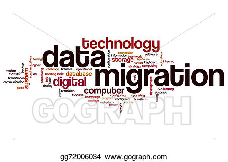 Teamwork clipart data migration. Word cloud stock illustration