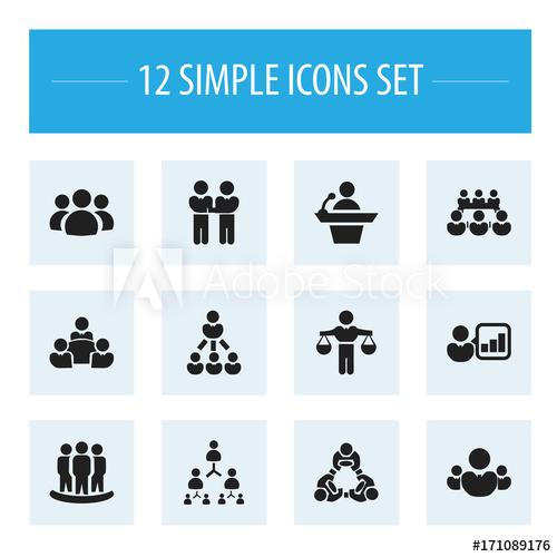 Set of editable icons. Teamwork clipart debate team