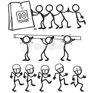 Stickfigures demonstrating stick figures. Teamwork clipart doodle