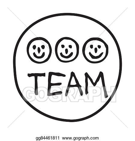 Teamwork clipart doodle. Vector illustration team icon