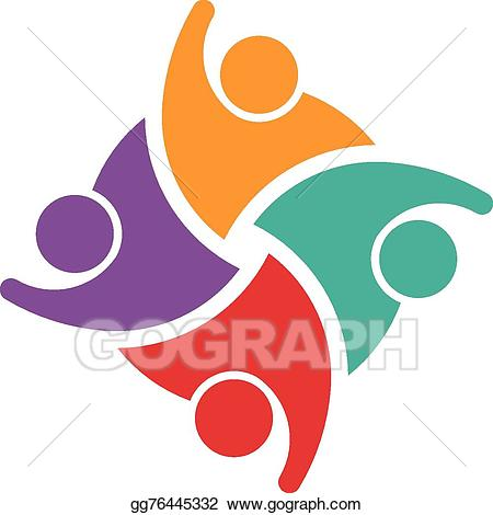 Vector illustration of swoosh. Teamwork clipart group 4