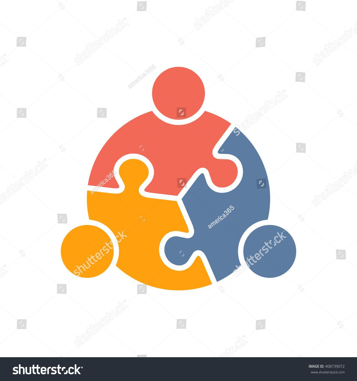 Teamwork clipart logo. People puzzle three pieces