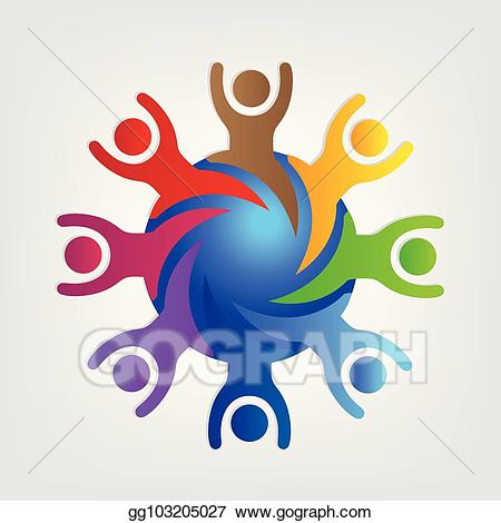 Clip art vector world. Teamwork clipart person connected