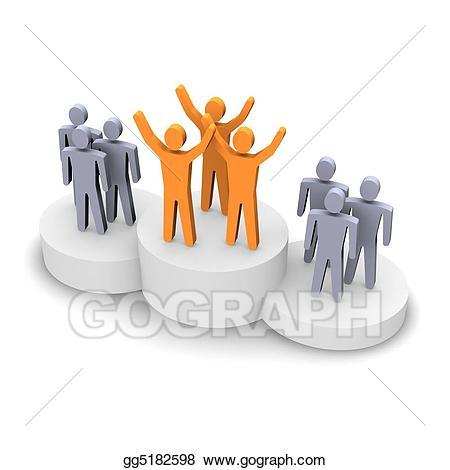 Winning team stock illustration. Teamwork clipart platform