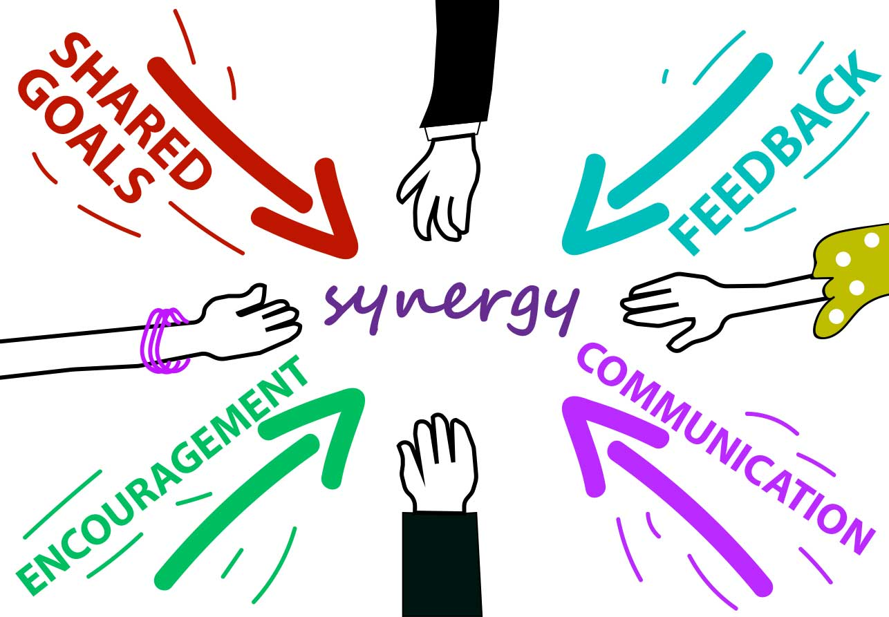 Achieving workplace a letter. Teamwork clipart synergy