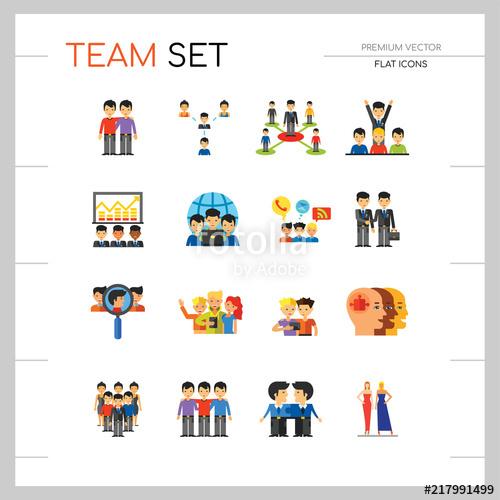 Icon set virtual group. Teamwork clipart team structure