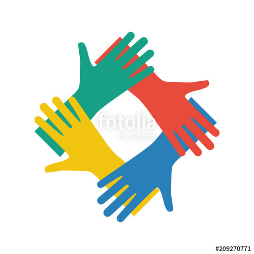 Connected colored hands icon. Teamwork clipart unification