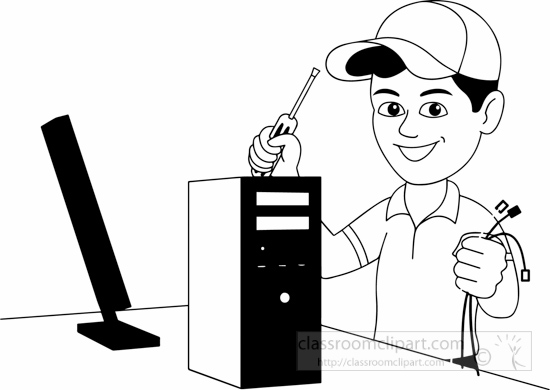 Computer black and white. Technology clipart clip art