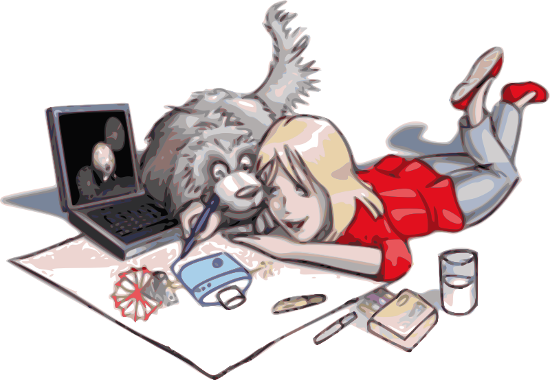Technology clipart drawing. Girl with a dog