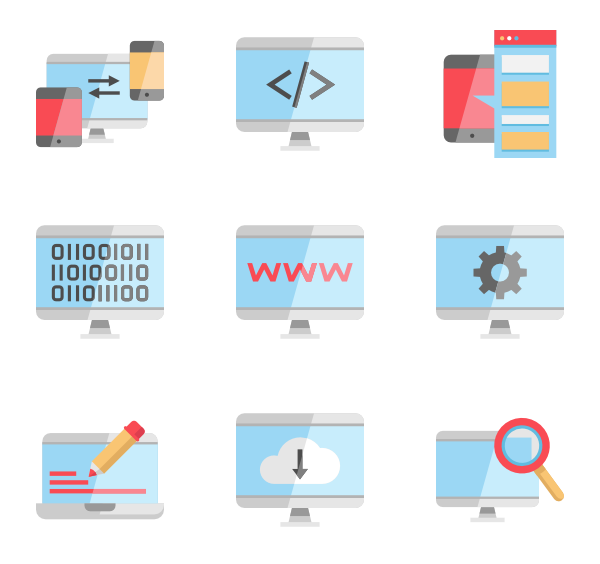 coding icon packs. Technology clipart flat design