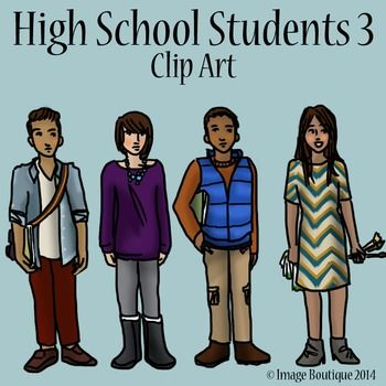 Teen clipart 3 student. High school teenager students