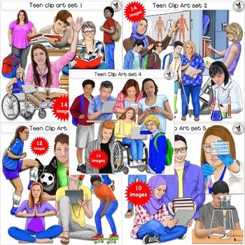 Teen clipart adolescent. Clip art bundle realistic
