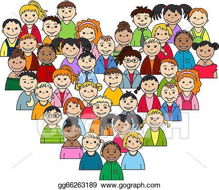 Teen clipart child heart. Eps illustration of children