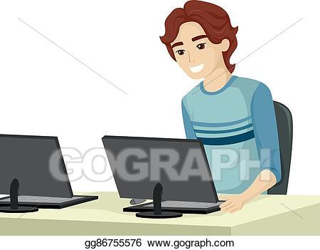 Teen clipart computer. Eps vector guy school