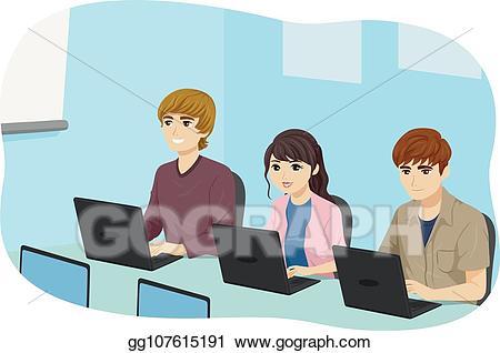 Vector teens students class. Teen clipart computer
