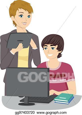 Teen clipart computer. Eps vector guy tutor