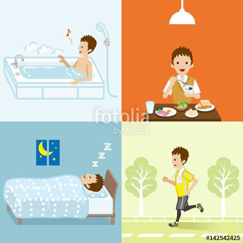 Lifestyle set teenage boy. Teen clipart healthy teenager