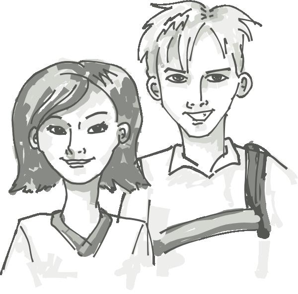 Teen clipart line. Boy and girl teens