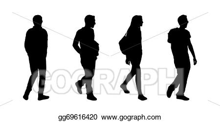 Drawing people walking outdoor. Teen clipart ordinary person