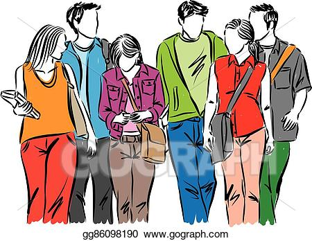 Teen clipart student teenager. Vector stock group of