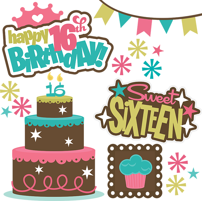 Teen clipart svg. Happy th birthday girl