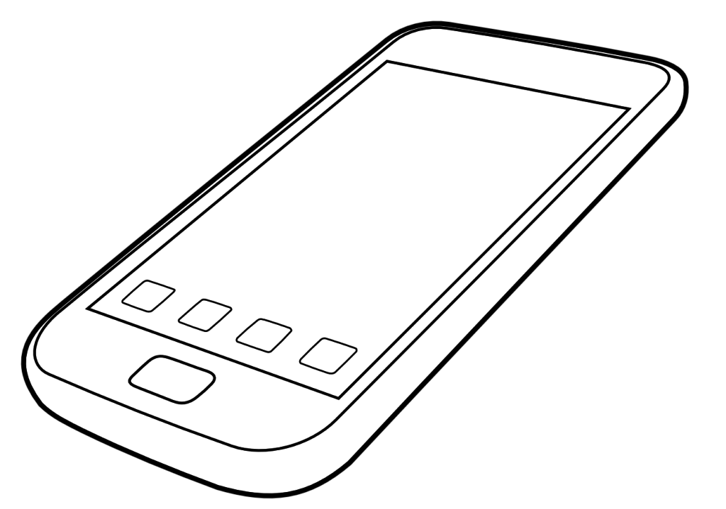 Beautiful coloring contemporary phone. Telephone clipart colouring