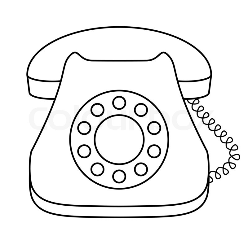 Telephone clipart draw. Old phone drawing at