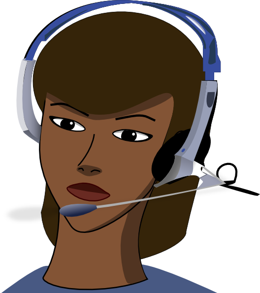 Telephone clipart female person. Woman with a headset