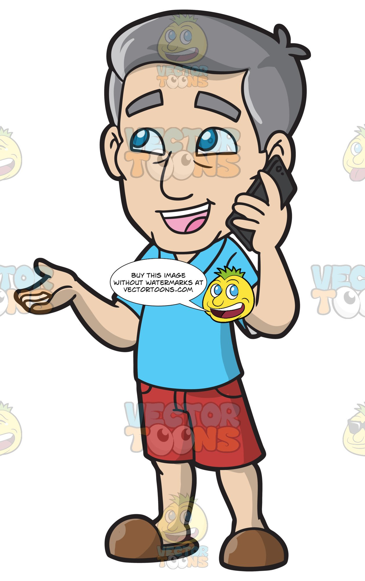 A mature talking to. Telephone clipart man