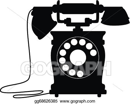 Telephone clipart old time. Vector fashioned dial up