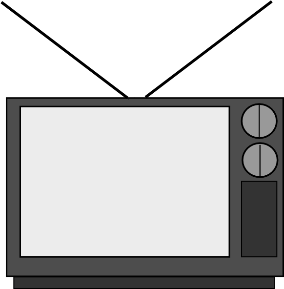 Television clipart. Tv black and white
