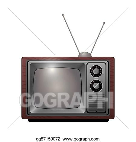 Television clipart classic tv. Eps illustration retro with