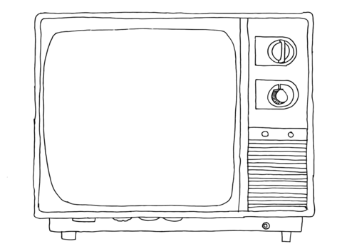 Old sytle tv coloring. Television clipart colouring page