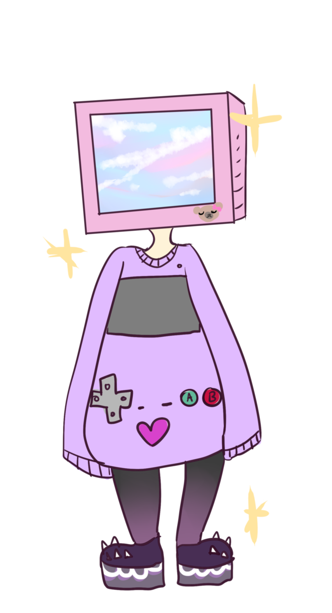 Tv head adopt closed. Television clipart kawaii