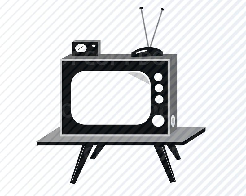 Vintage tv svg files. Television clipart vector