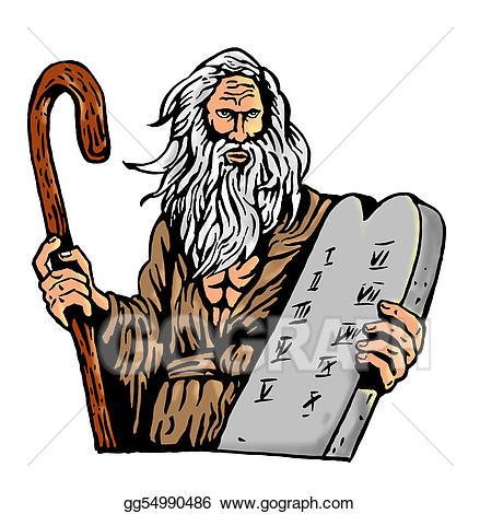 Ten commandments clipart. Stock illustrations moses carrying