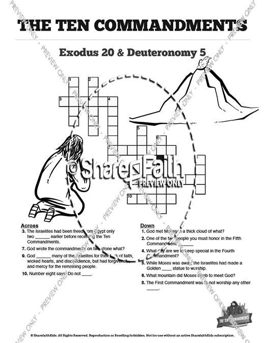 The sunday school crossword. Ten commandments clipart deuteronomy