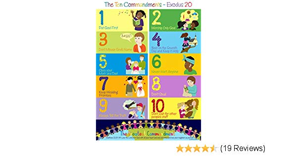 The poster for kids. Ten commandments clipart first three