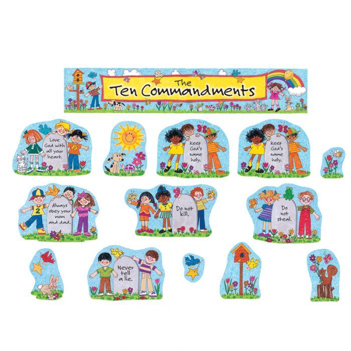 Ten commandments clipart gods. Bulletin board set and