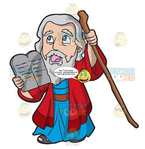 Moses holding the . Ten commandments clipart prophecy